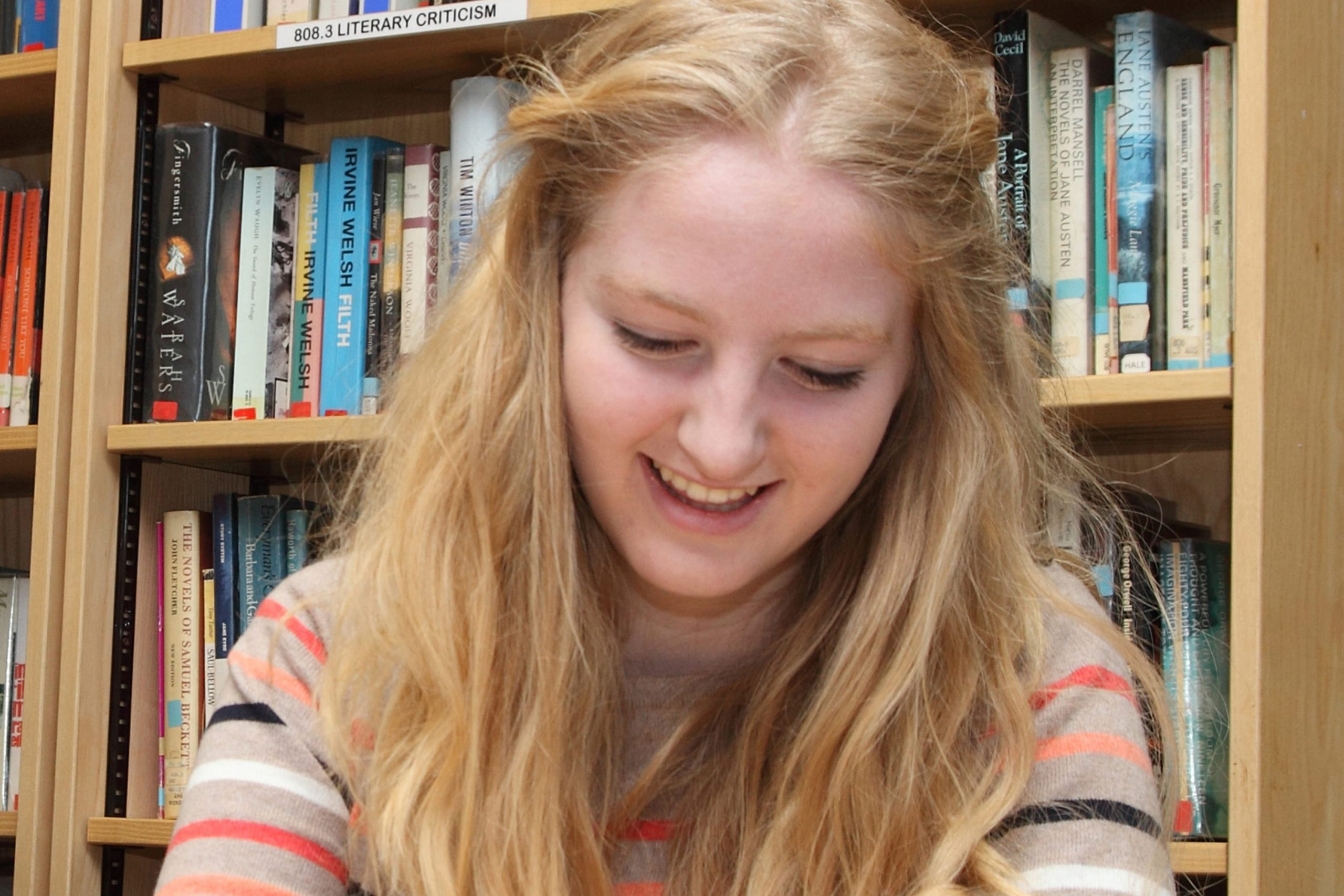 Sixth Form student working in library