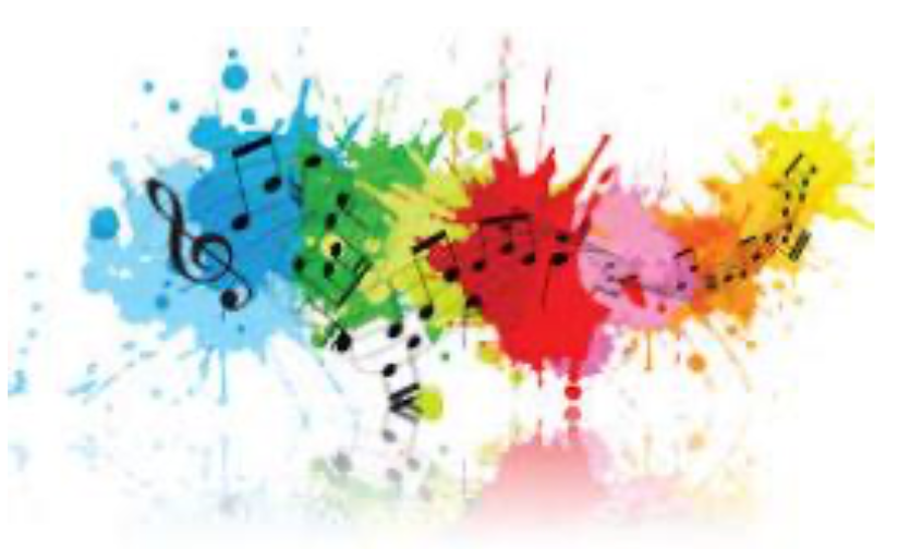 Music notes on a multi-coloured background